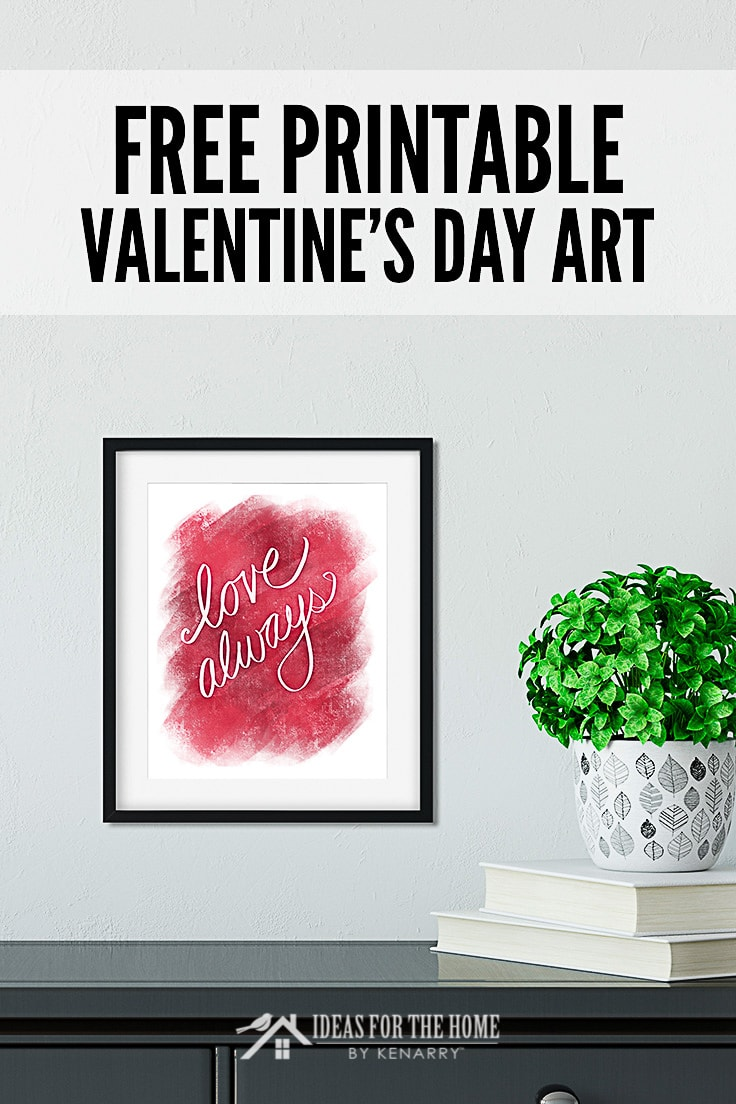 Free Printable Valentine's Day Art, colorful print hanging in a frame above a desk