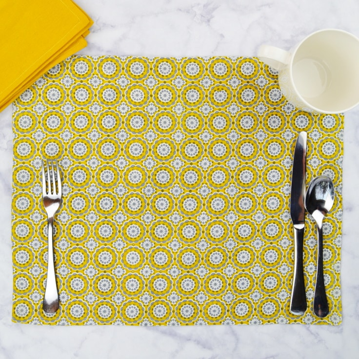 A yellow placemat