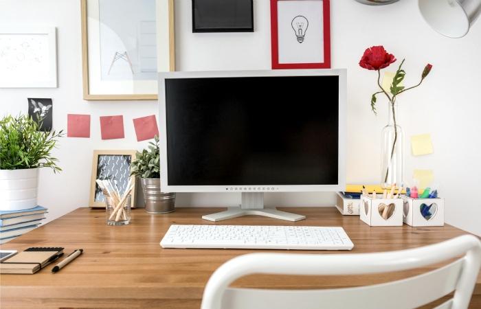 An organized home office desk