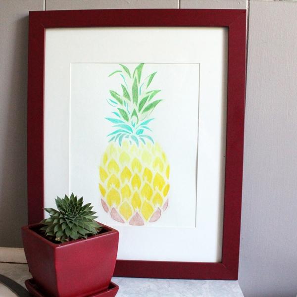 Pineapple Stencil Art