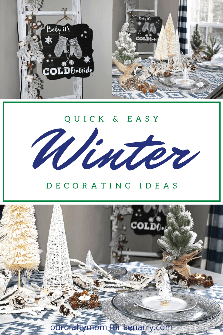 collage of three winter decorating ideas that reads