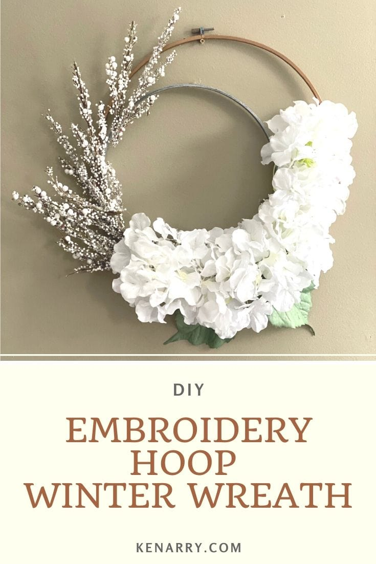 winter wreath using embroidery hoops