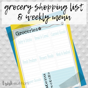 Free printable grocery shopping list with a yellow and blue border on a grey background.