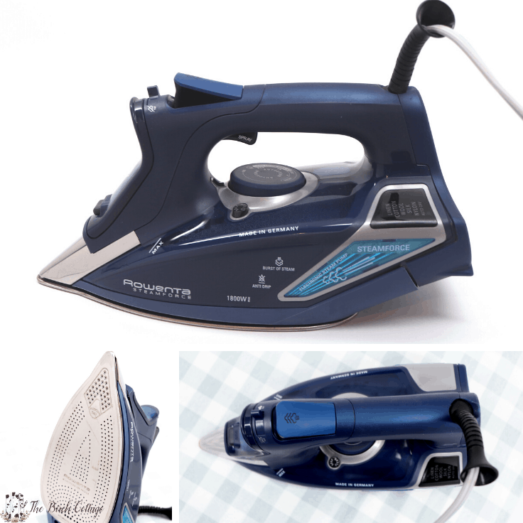 A collage of different angles and views of the Rowenta Steamforce iron