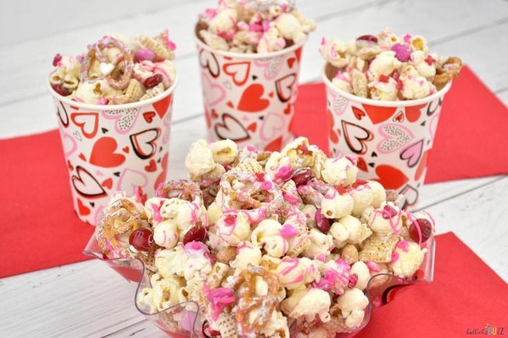 bowl of Valentine's Day Snack Mix