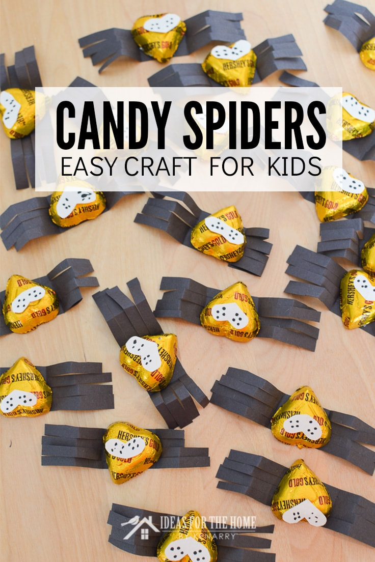 Candy Spiders Easy Craft for Kids using heart shaped chocolates