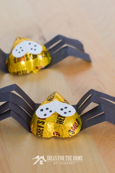 Candy spiders made from heart shaped Valentine's Day chocolates