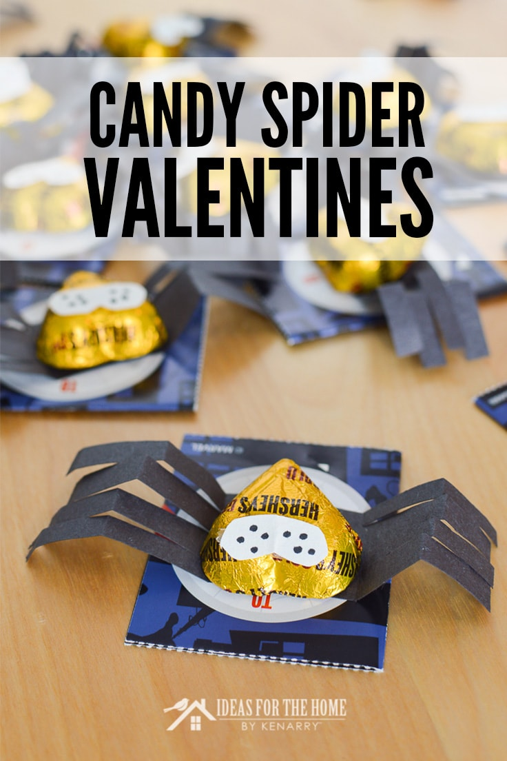 Candy Spider Valentines - make cute little spiders out of heart shaped chocolates and attach them to store bought Valentine's Day cards