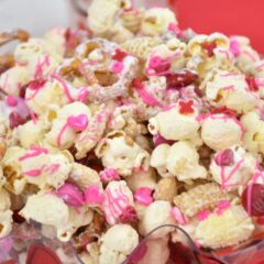 close up of Valentine's Day Snack Mix in bowl