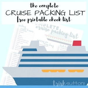 Clipart of a cruise ship with words Cruise Packing List.