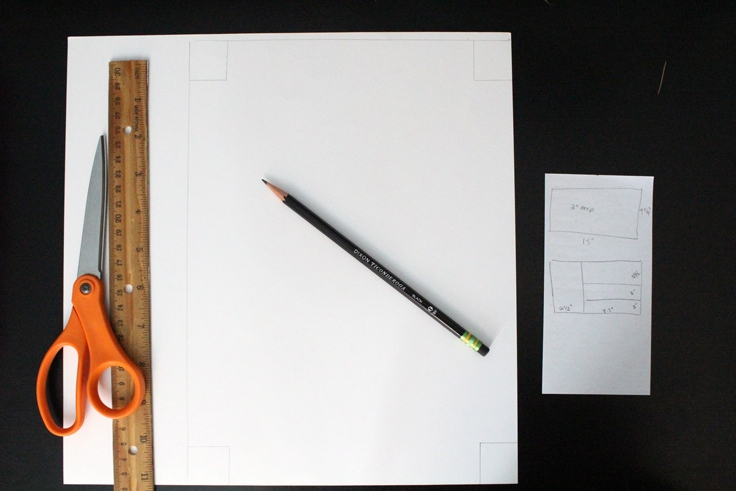 white paper with the outline drawn of a box template