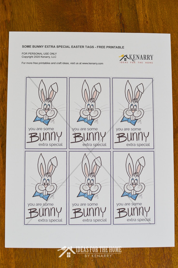 A sheet of free printable Easter gift tags that say