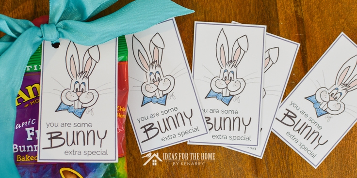 Free printable Easter bunny gift tags to attach to treats and goodies as a fun idea for a kid's Easter basket