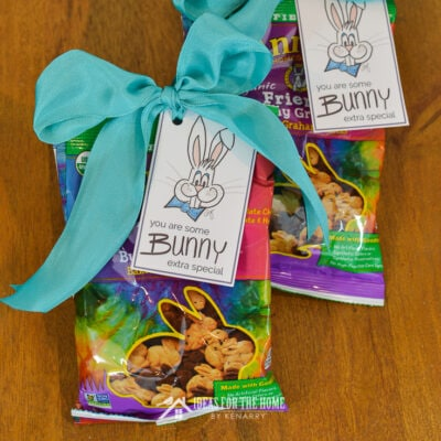 Use these free printable Easter gift tags to decorate bags of rabbit shaped graham crackers for your child's Easter basket.