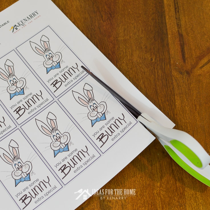Using scissors to cut apart Easter Bunny gift tags