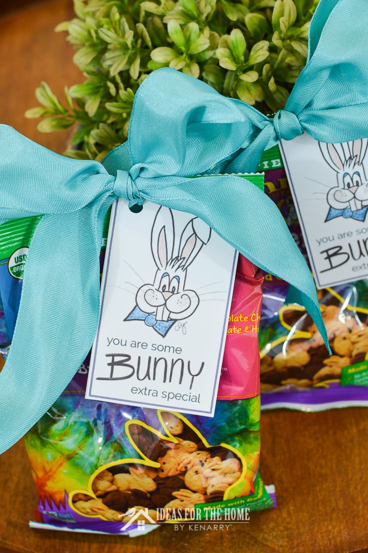 A big bow is used to attach an Easter printable gift tag to a bag of rabbit shaped graham crackers