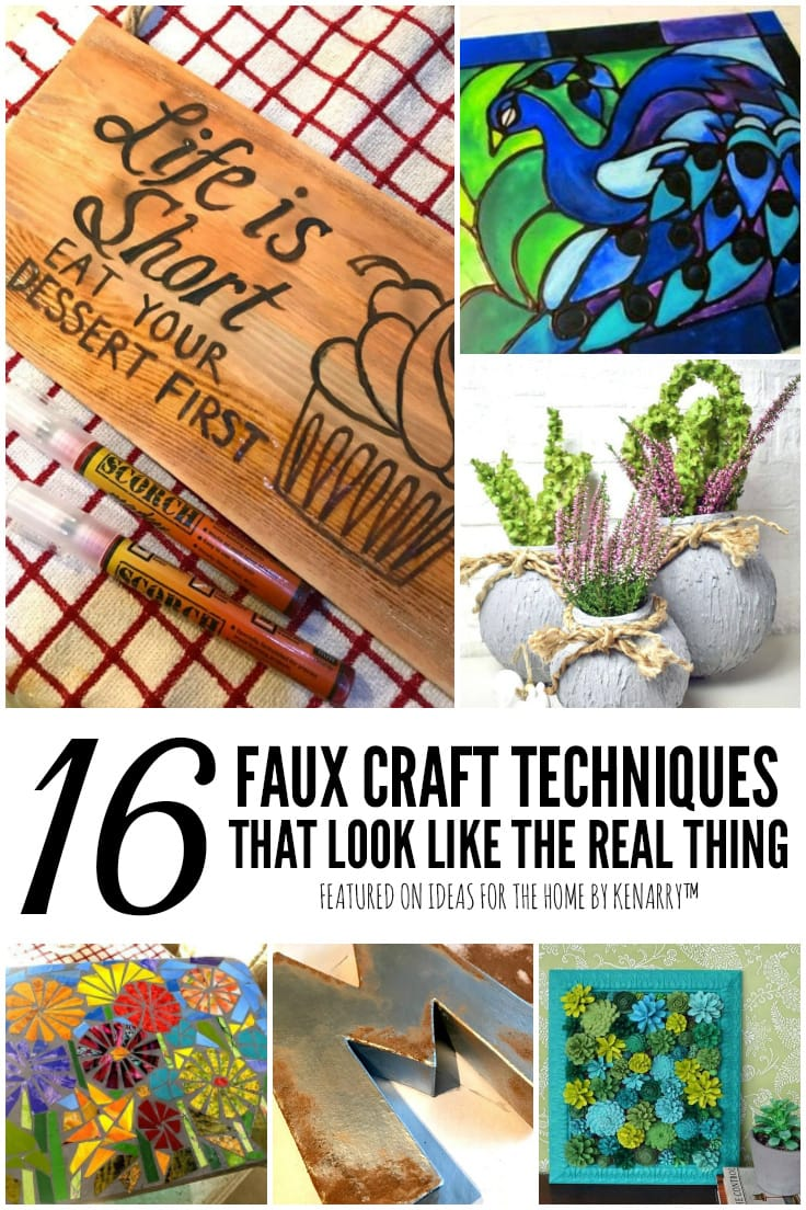 16 Faux Craft Techniques That Look Like the Real Thing featured on Ideas for the Home by Kenarry