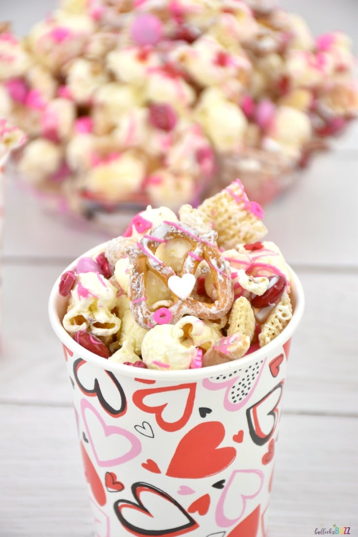 This sweet-n-salty Valentine's Day snack mix is a simple treat that's fun, festive, colorful, and delicious!