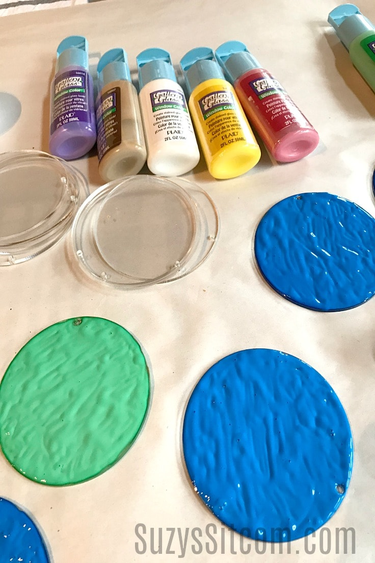 Various stained glass paints that you can use to make suncatchers