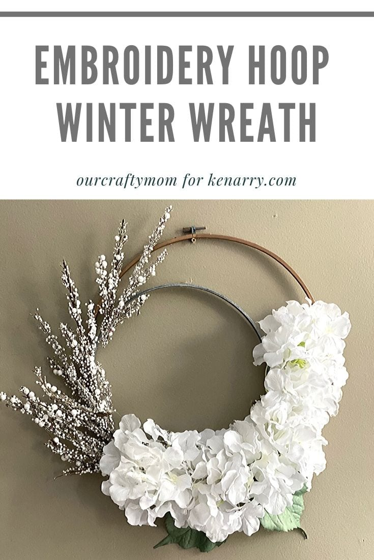 embroidery hoop winter wreath pin image