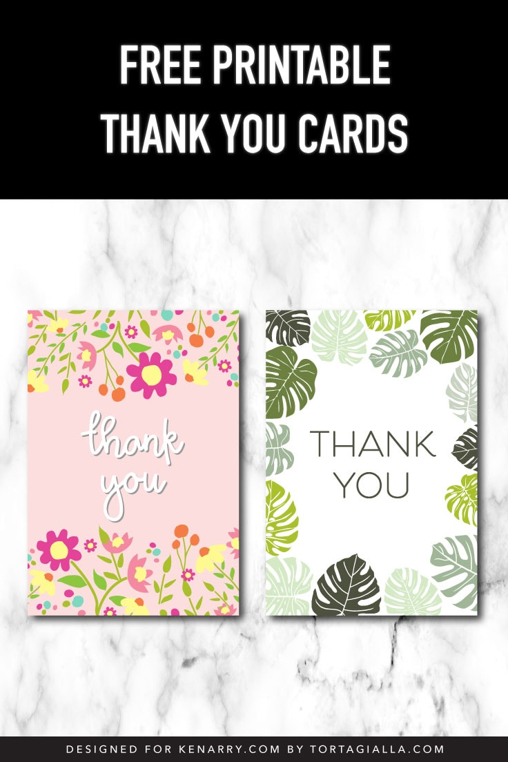 Preview of two thank you card card fronts on marble background.