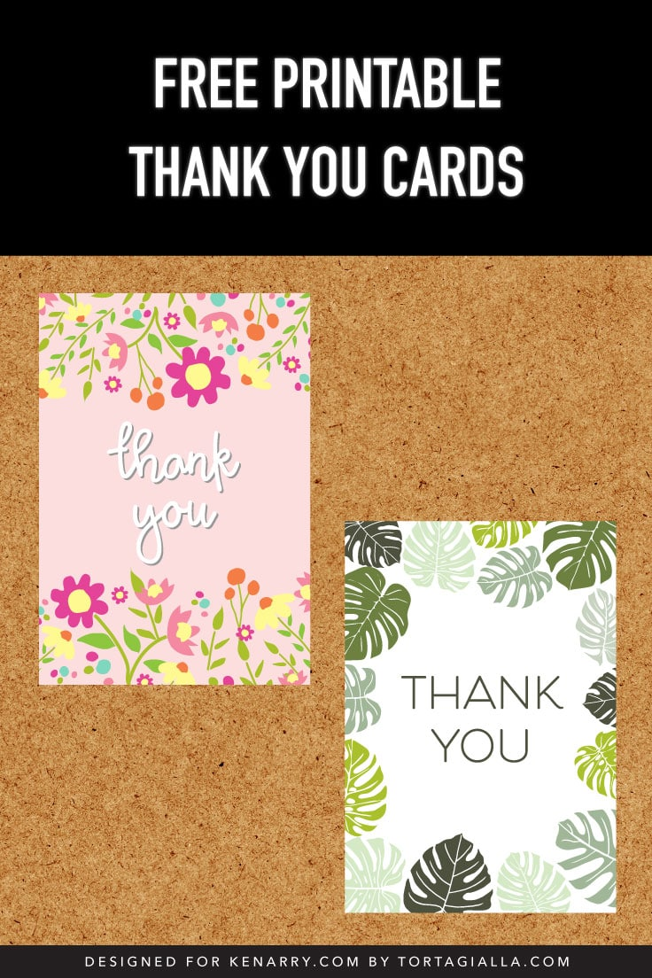 Preview of two thank you card fronts on cork background.