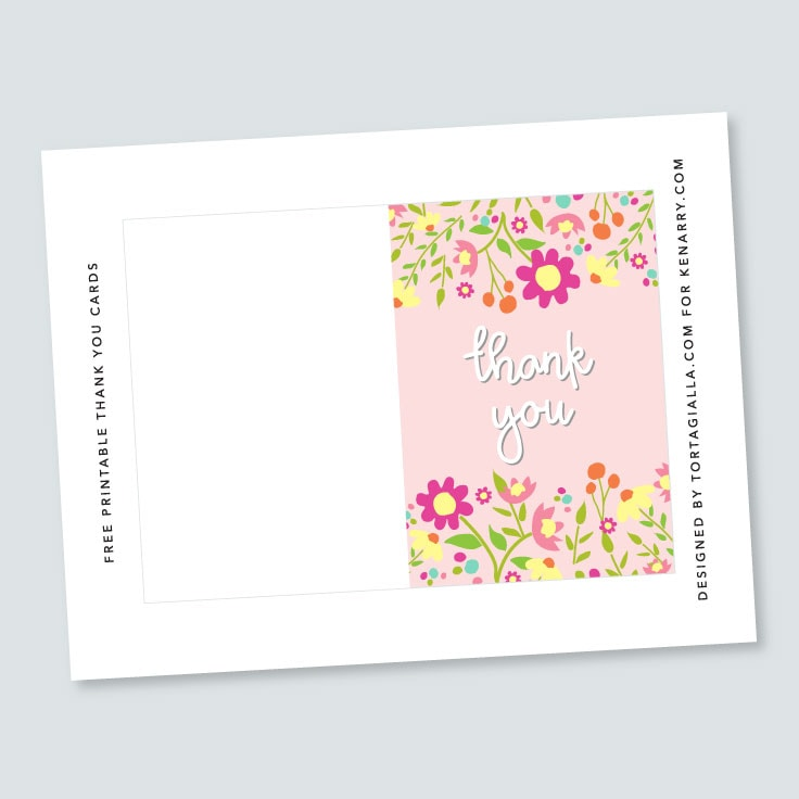 Preview of floral thank you card design on letter sized paper.