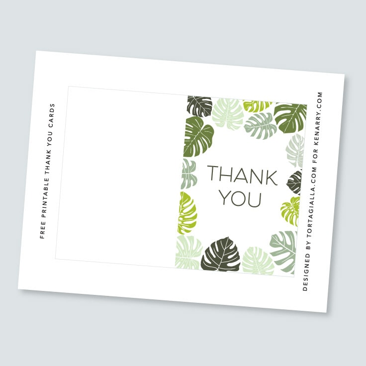 Preview of tropical leaves thank you card design on letter sized paper.