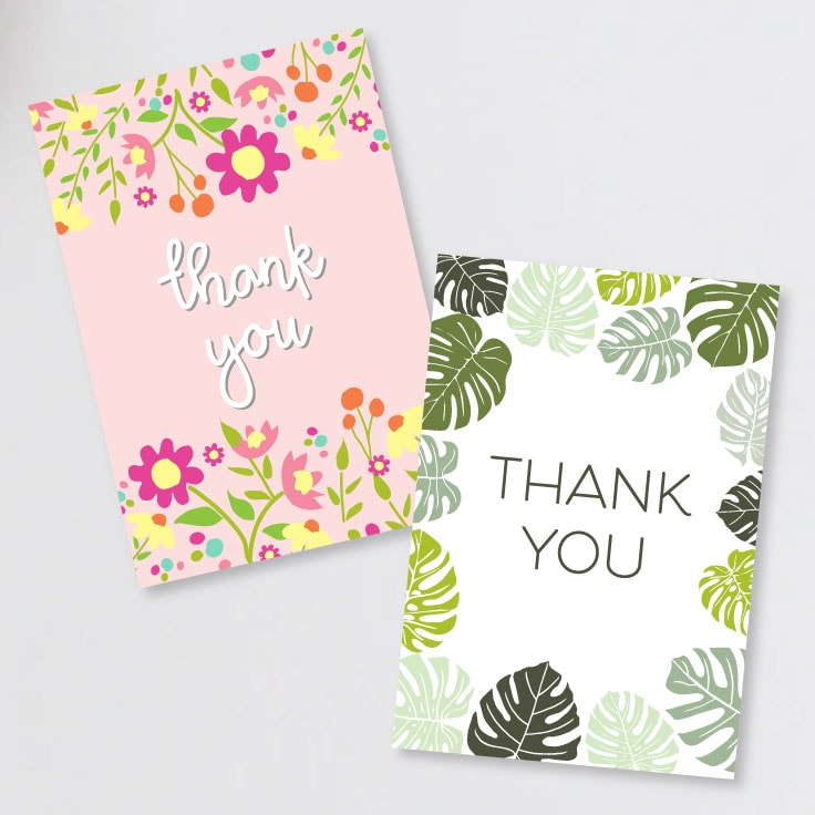 Preview of two printable thank you card front designs featuring a floral card and tropical leaves card.
