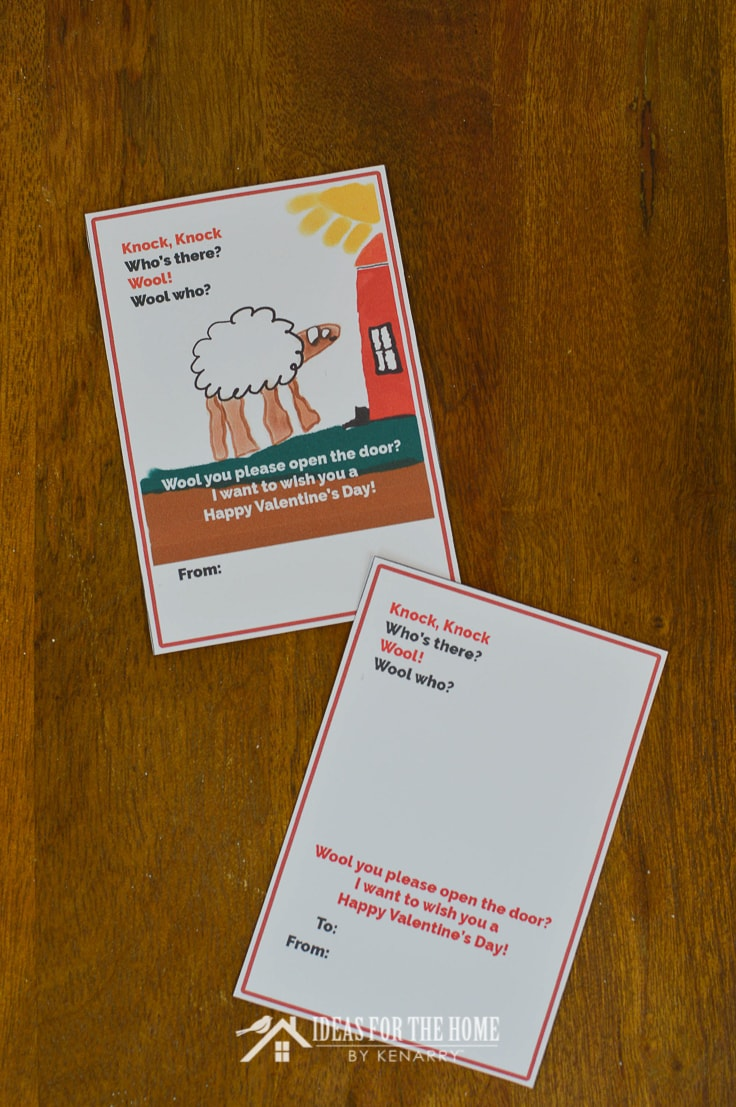 Funny Valentine's Day card for kids with a knock knock joke and a blank spot for a child to draw a picture of a sheep