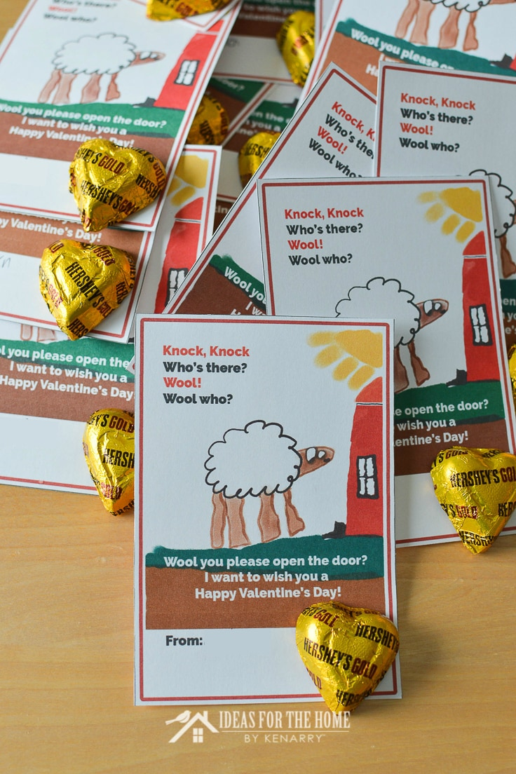 Chocolate hearts attached to kids Valentine's Day card with a funny knock knock joke about a sheep
