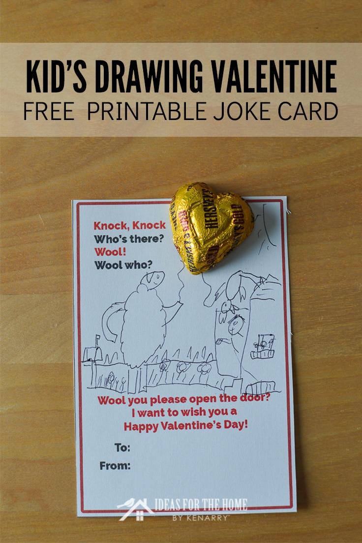 Kid's Drawing Valentine Free Printable Joke Card
