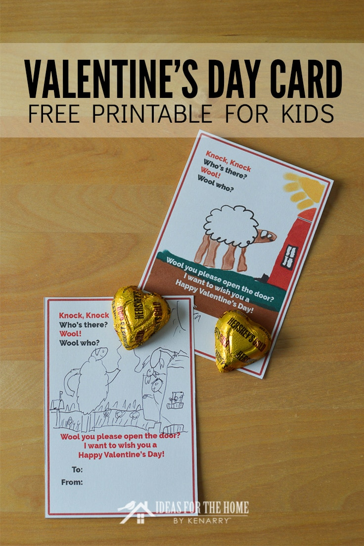 Valentine's Day Card Free Printable for Kids with funny sheep knock knock joke