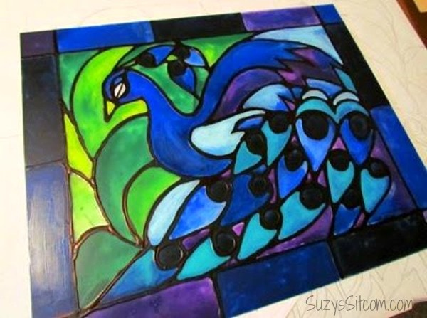 faux stained glass out of paint and glue