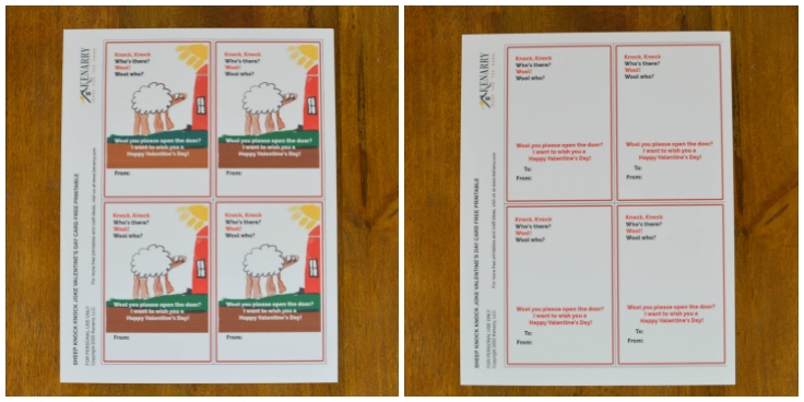 Two different version of the free printable Valentine's Day card for kids featuring a sheep joke