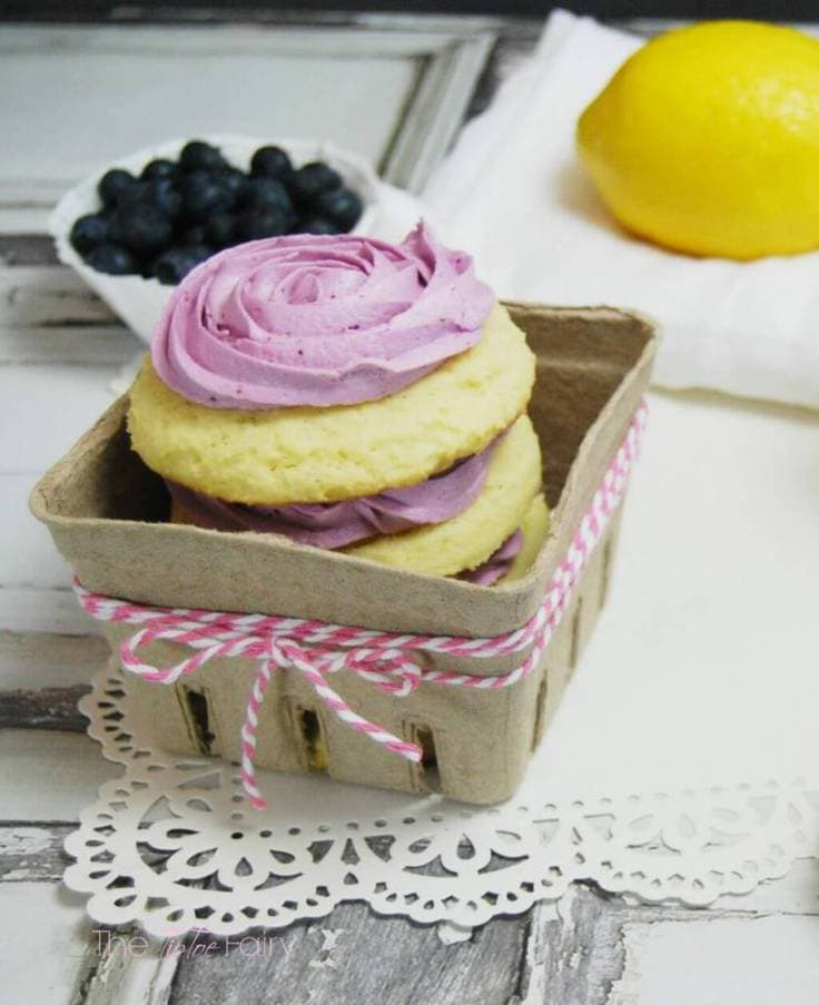 Lemon sugar cookies with blueberry frosting