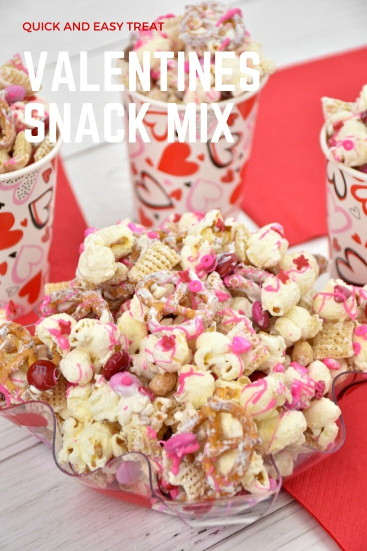 This Valentine's Day Snack Mix is a delicious way to add a touch of sweetness to someone's day! This salty and sweet snack mix is made with crispy cereal, crunchy pretzels, chocolatey candies, and salty peanuts all drizzled with melted chocolate and dusted with pink, red, and white sprinkles!