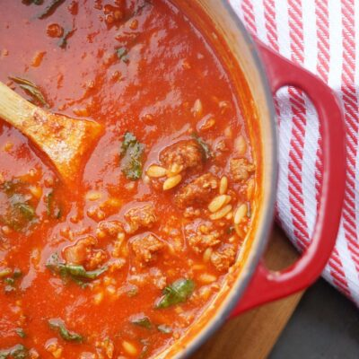 Easy Spicy Sausage and Orzo Soup