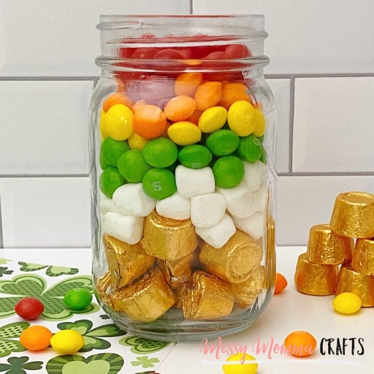 DIY Pot of Gold Rainbow Jars Filled With Candy
