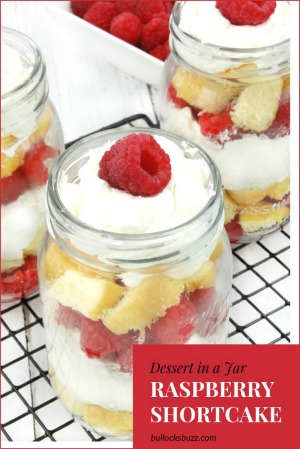 Fresh raspberries layered with clouds of rich, fluffy whipped cream and sweet vanilla pound cake make this Raspberry Shortcake in a jar sinfully delicious!