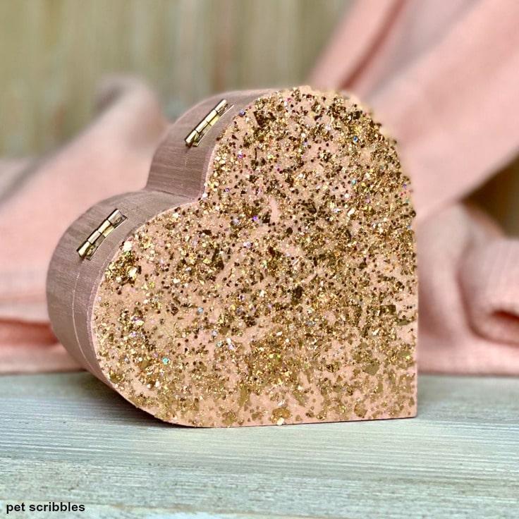a glittery heart-shaped wooden box gift idea