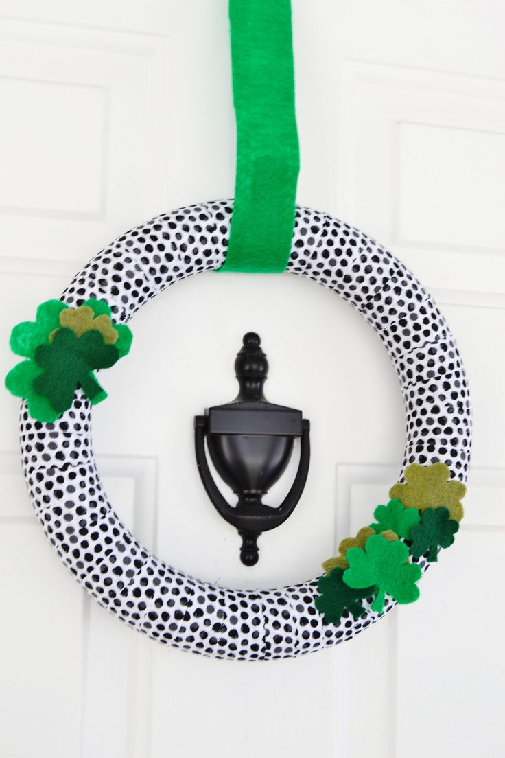 St. Patrick's Day Wreath hanging on a door