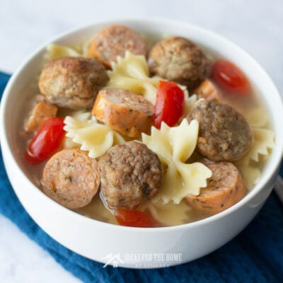 Meatball Soup with Smoked Sausage and Bow Tie Pasta
