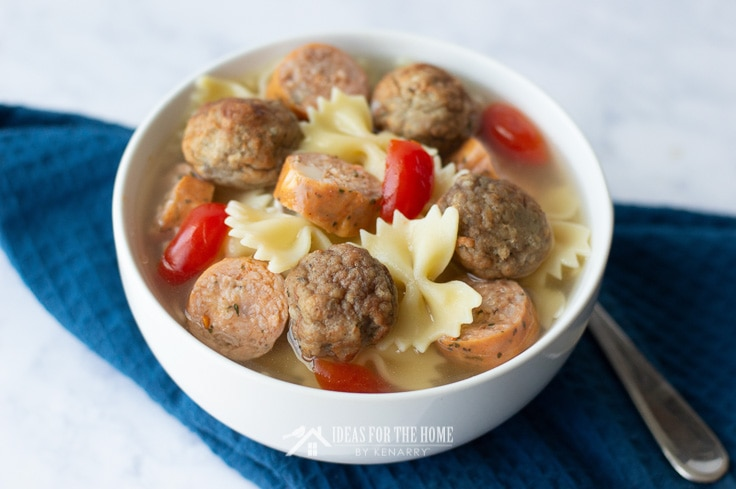 Meatball soup with bow tie pasta, turkey sausage and red peppers