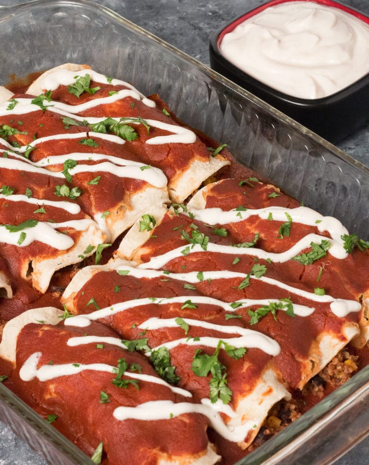 Quinoa and black beans enchiladas