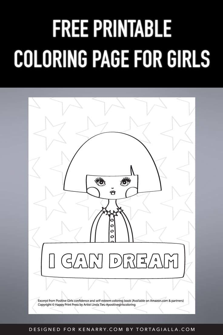 Preview of free printable coloring page for girls