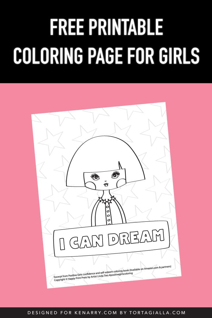 Preview of printable coloring page illustration - I Can Dream.