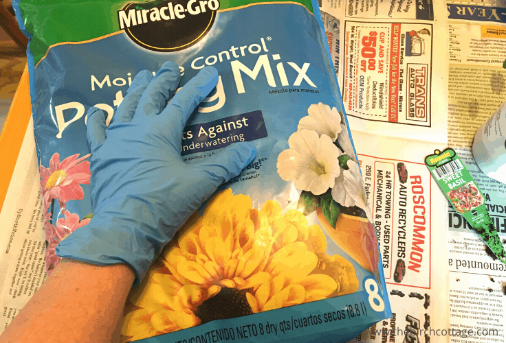 A bag of Miracle-Gro Potting mix