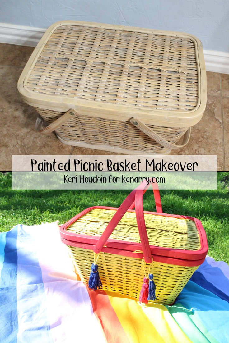 A thrift store find gets a bright, new coat of paint and is repurposed as a storage bin in this easy painted picnic basket makeover. #kenarry #ideasforthehome