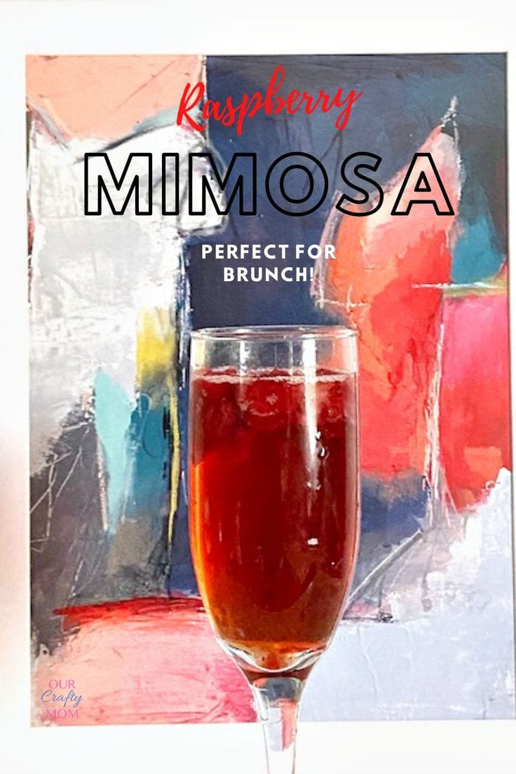 Raspberry mimosa shown in front of colorful art print